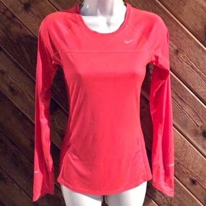 🆕 Nike Running neon coral long sleeve top pink